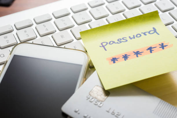 Internet banking password for purchase, smartphone, credit card. stock photo