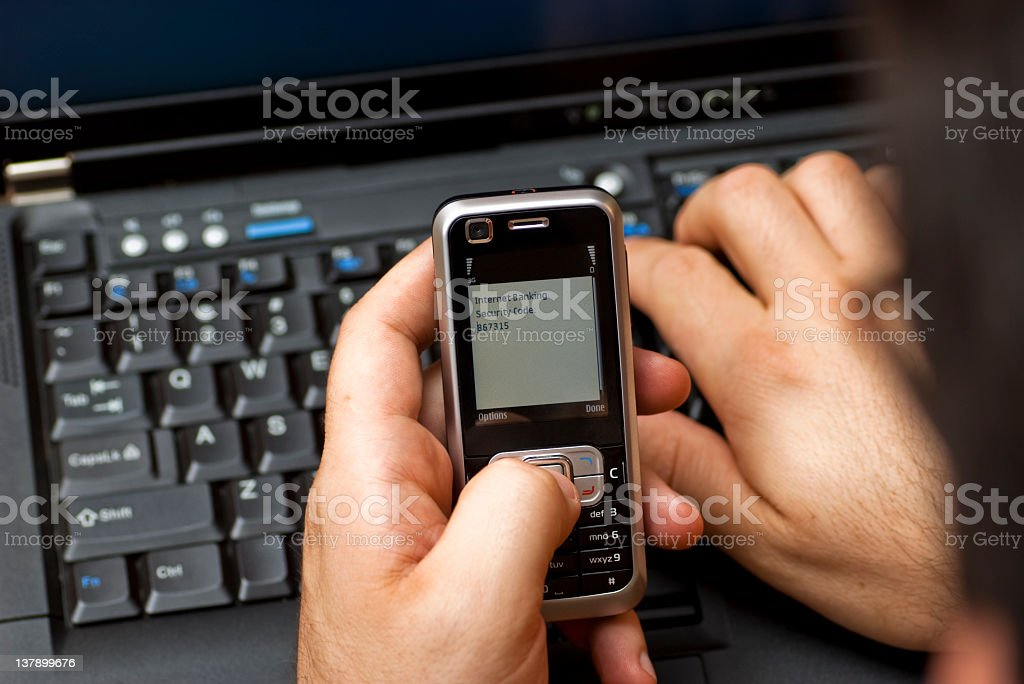 Internet Banking Security Code delivered by SMS royalty-free stock photo