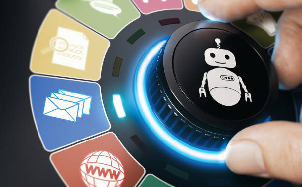 Internet Bot. RPA Robotic Process And Task Automation. stock photo