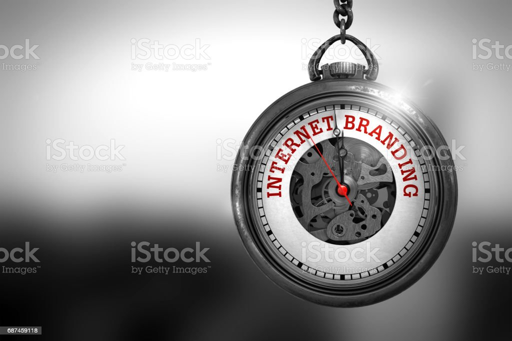 Internet Branding on Vintage Watch Face. 3D Illustration stock photo