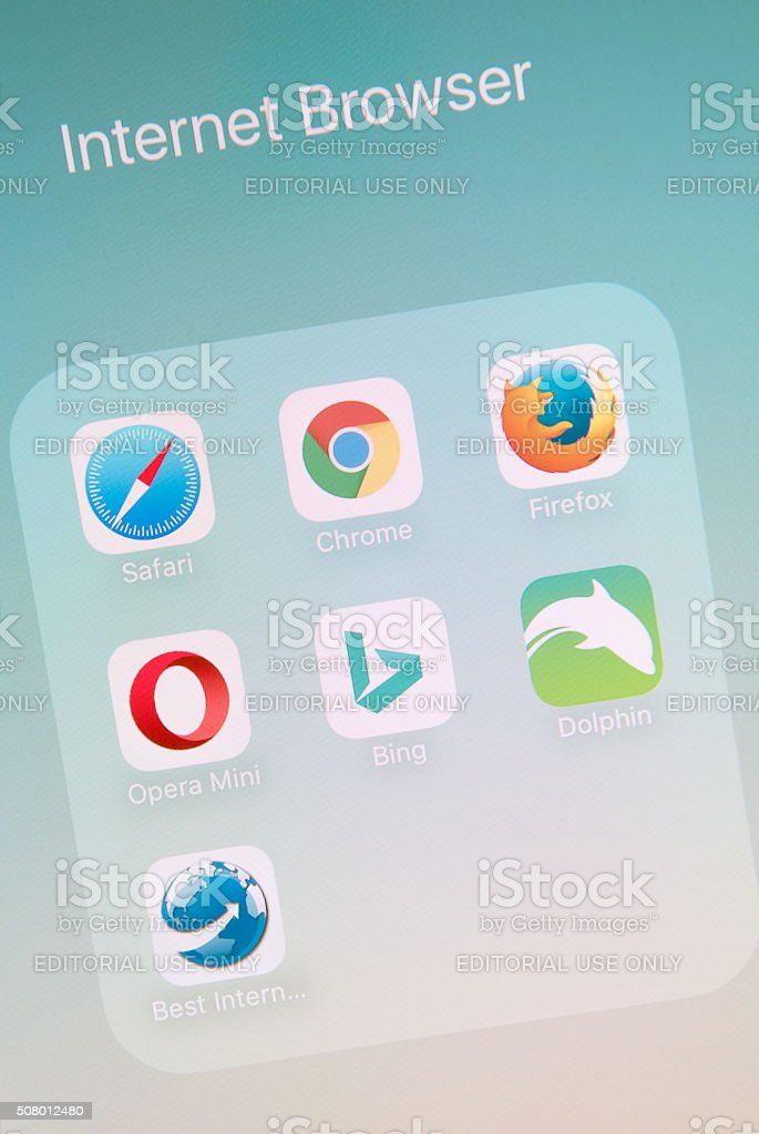 Internet Browser Apps on Apple iPhone 6s Plus Screen stock photo