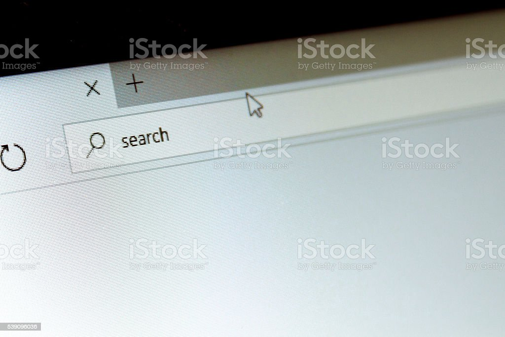 Internet browser on a computer screen with the word Search stock photo