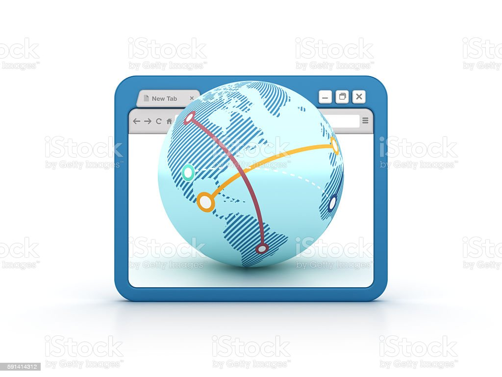 Internet Browser with Globe World stock photo