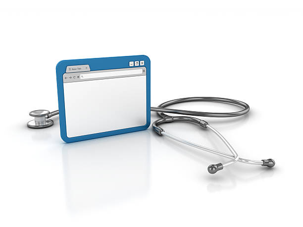 Internet Browser with Stethoscope stock photo