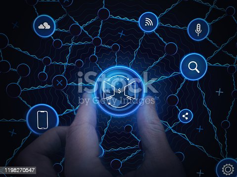 1154261912 istock photo Internet Business Technology. Communication Network Background. Hand Holds Online Business Network. Personal Data Design Structure. Internet Business Concept Background. Web Smart Business System. 1198270547
