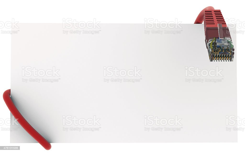 Internet cable and a white card royalty-free stock photo