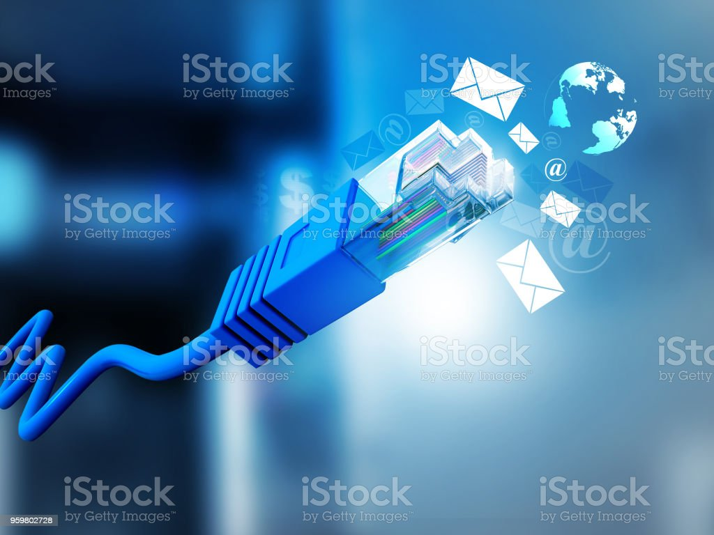 Internet Cable With Email Symbols Stock Photo More Pictures Of At