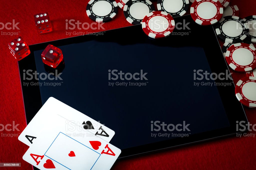 Internet casino and online gambling concept stock photo
