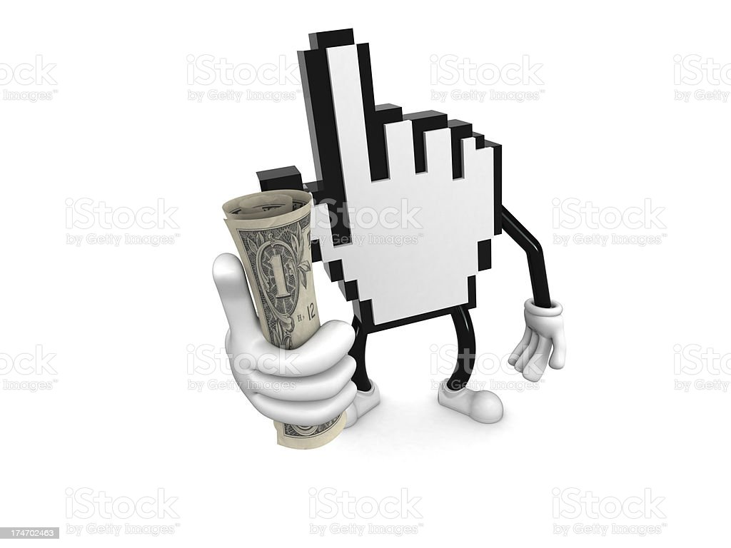 Internet character with dollar royalty-free stock photo