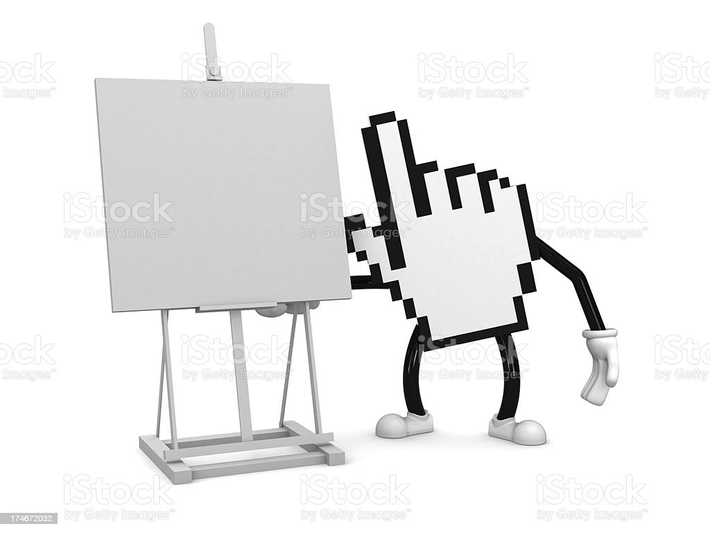 Internet character with easel royalty-free stock photo
