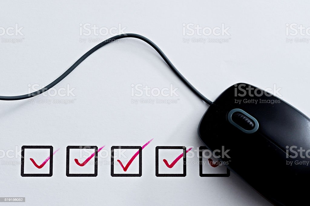 Internet checklist concept stock photo