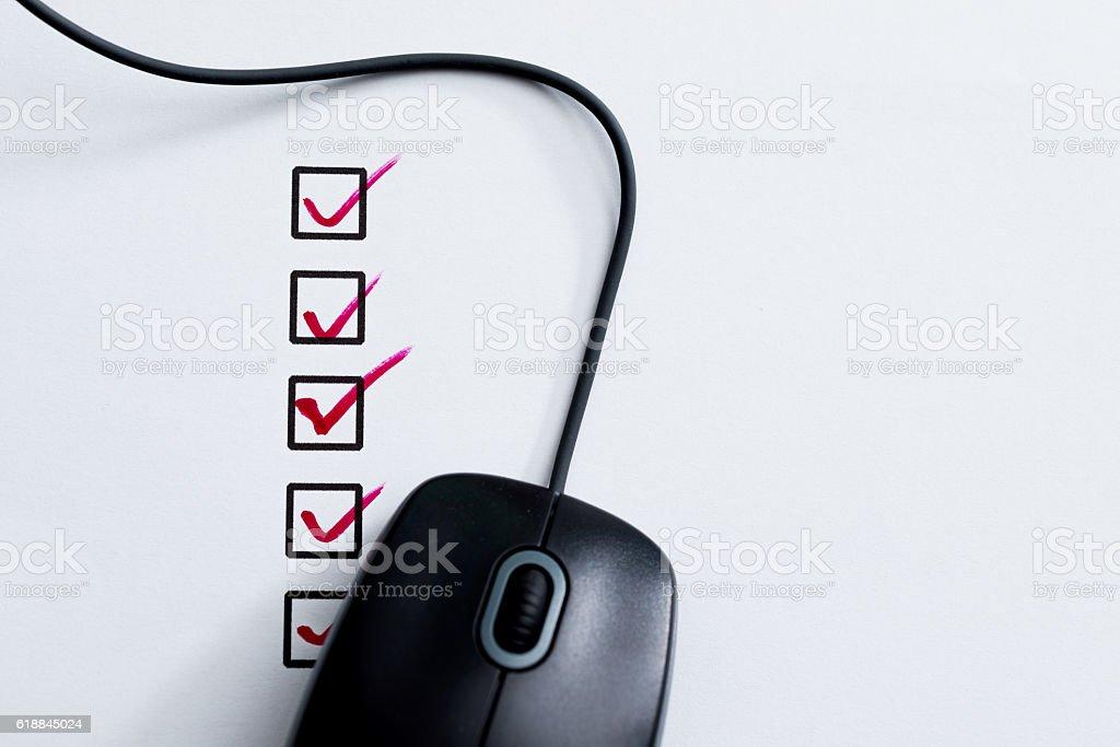 Internet checklist concept stock photo