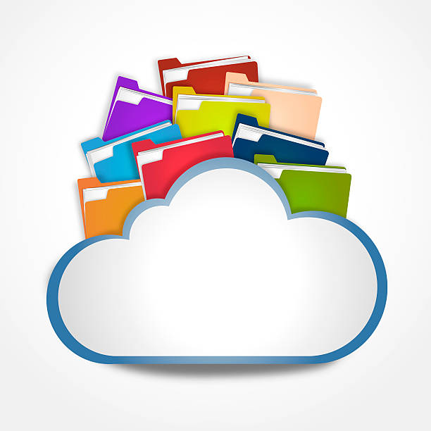 Internet cloud with files stock photo