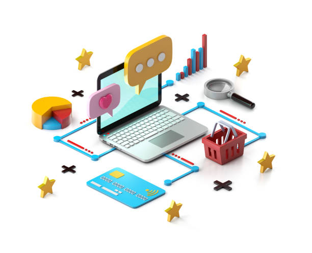 internet commerce - advertising isometric stock pictures, royalty-free photos & images