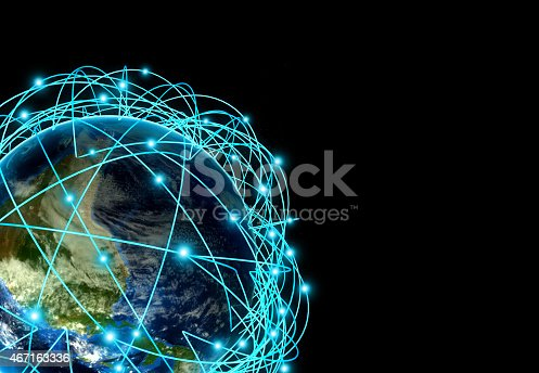 istock Internet Concept of global business and major air routes 467163336