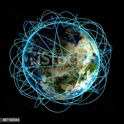 istock Internet Concept of global business and major air routes 467163344