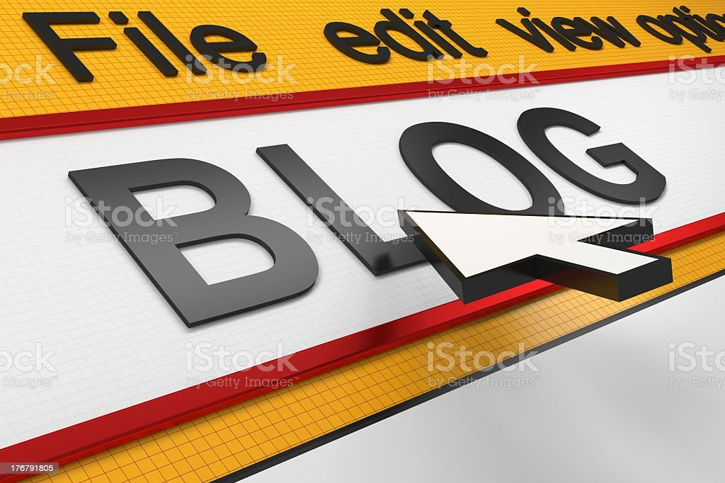 Internet Concept with Blog Type and Mouse Arrow royalty-free stock photo