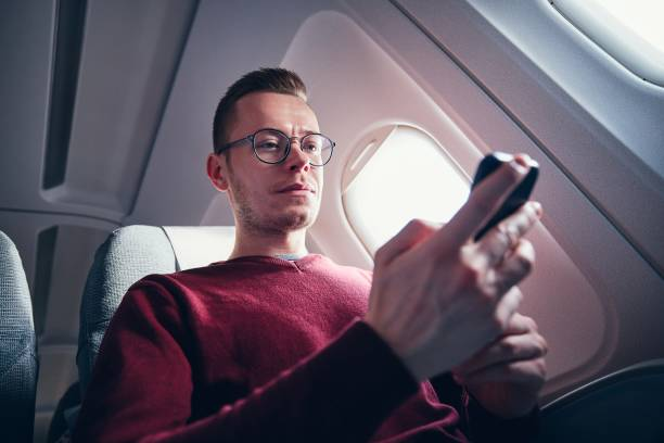 Internet connection during flight stock photo