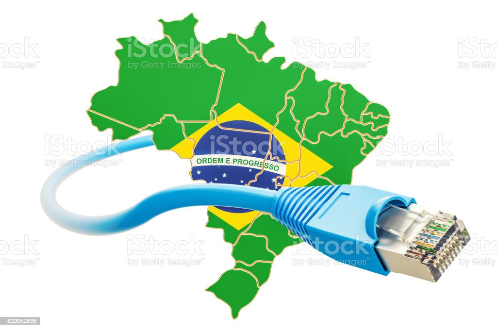 Internet connection in Brazil concept. 3D rendering isolated on white background - fotografia de stock
