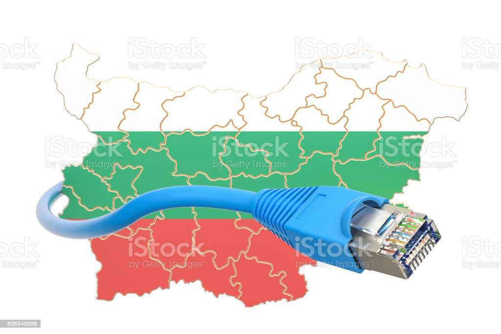 Internet connection in Bulgaria concept. 3D rendering isolated on white background stock photo