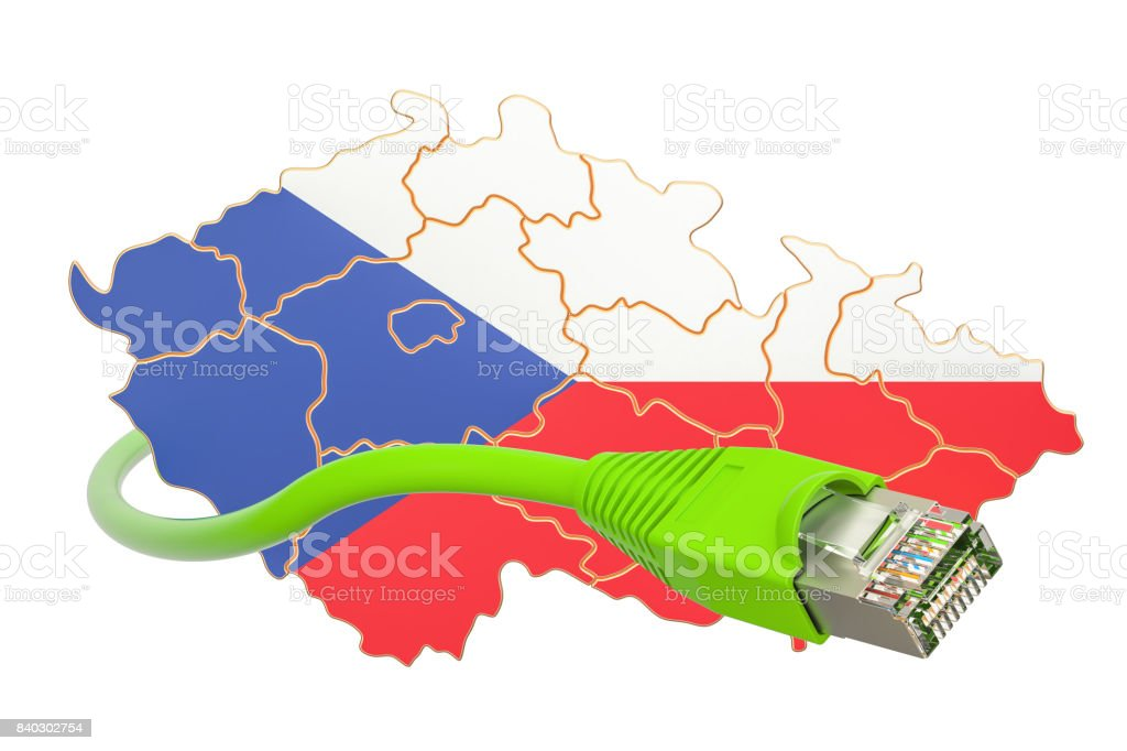 Internet connection in Czech Republic concept. 3D rendering isolated on white background stock photo