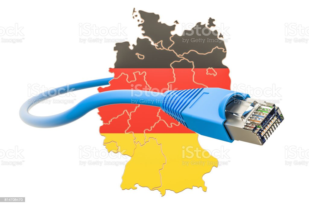 Internet connection in Germany concept. 3D rendering isolated on white background stock photo