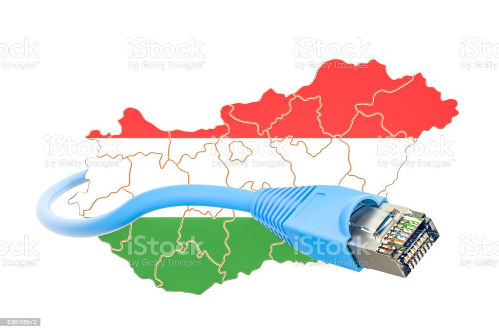 Internet connection in Hungary concept. 3D rendering isolated on white background stock photo