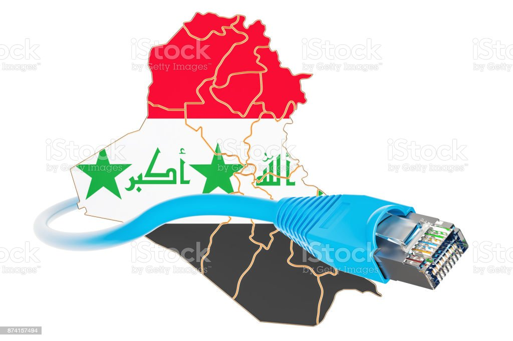 Internet connection in Iraq concept. 3D rendering isolated on white background stock photo
