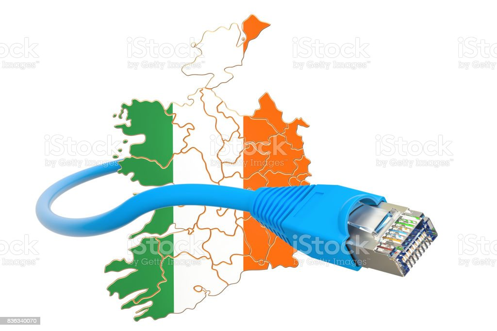 Internet connection in Ireland concept. 3D rendering isolated on white background stock photo