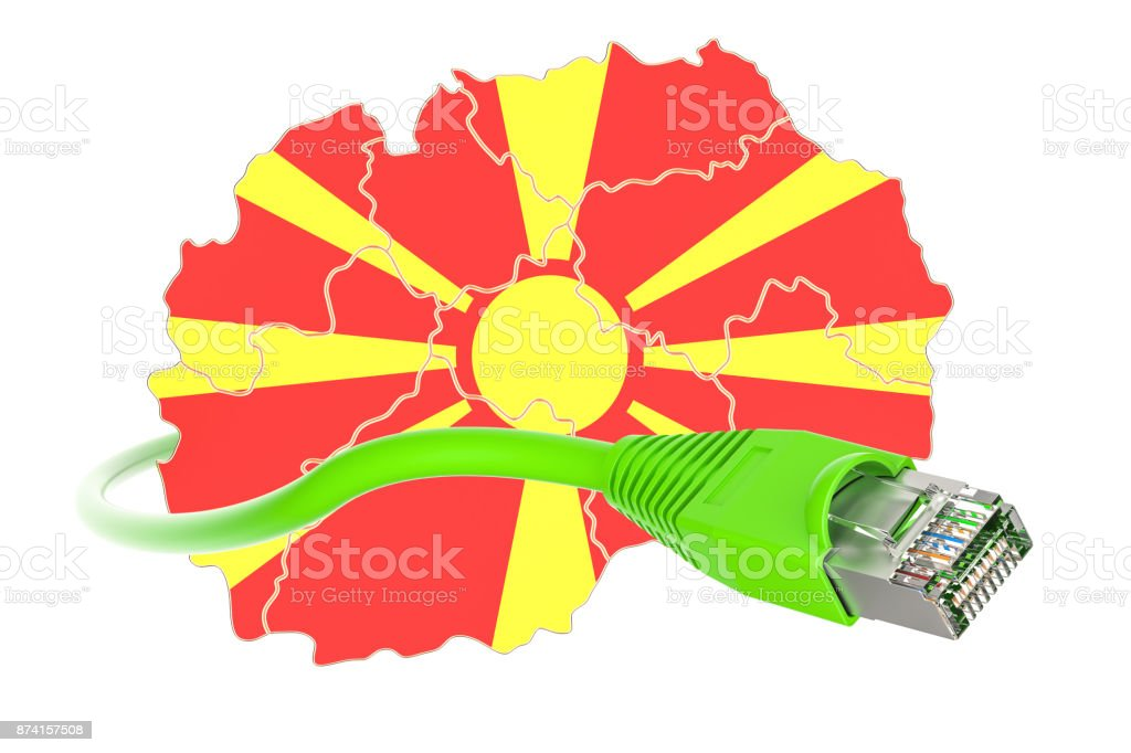 Internet connection in Macedonia concept. 3D rendering isolated on white background stock photo