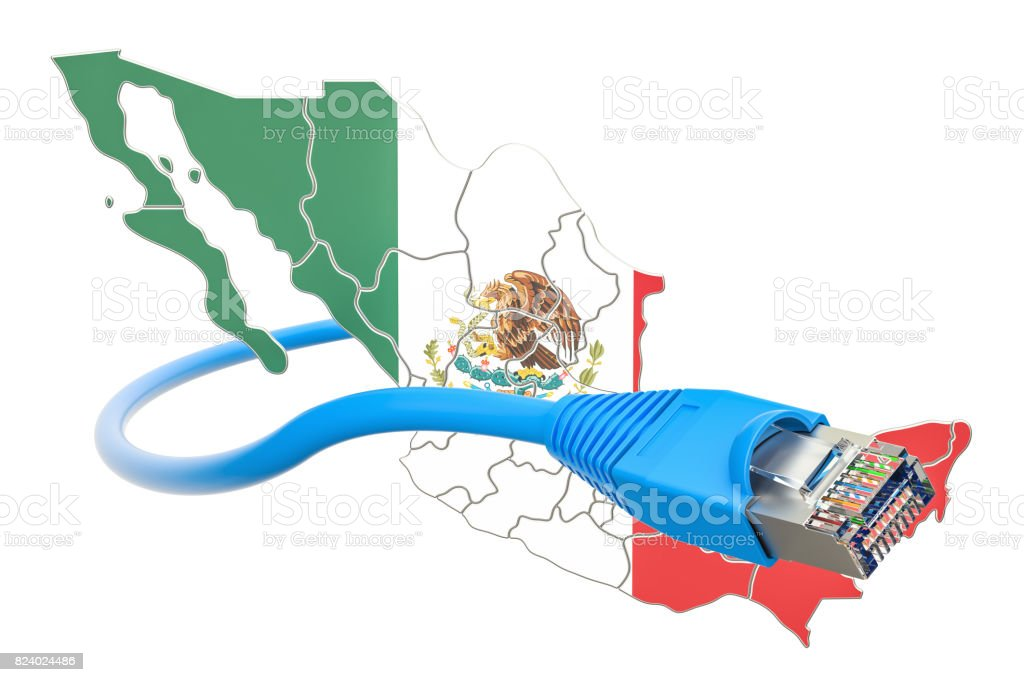 Internet connection in Mexico concept. 3D rendering isolated on white background stock photo