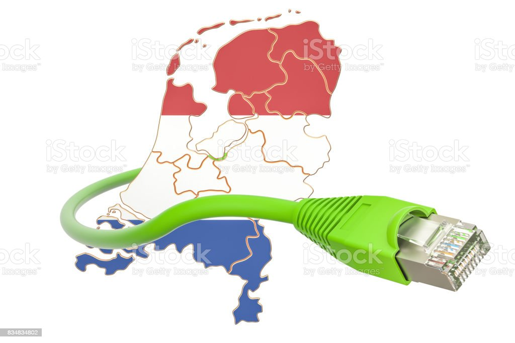 Internet connection in Netherlands concept. 3D rendering isolated on white background stock photo