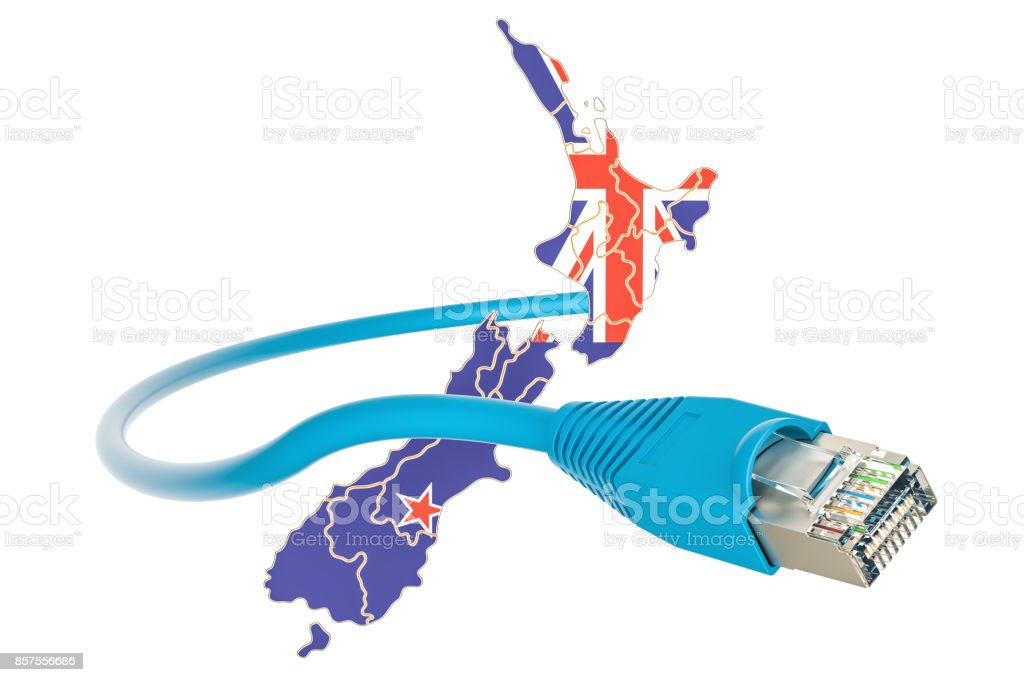 Internet connection in New Zealand concept. 3D rendering isolated on white background stock photo