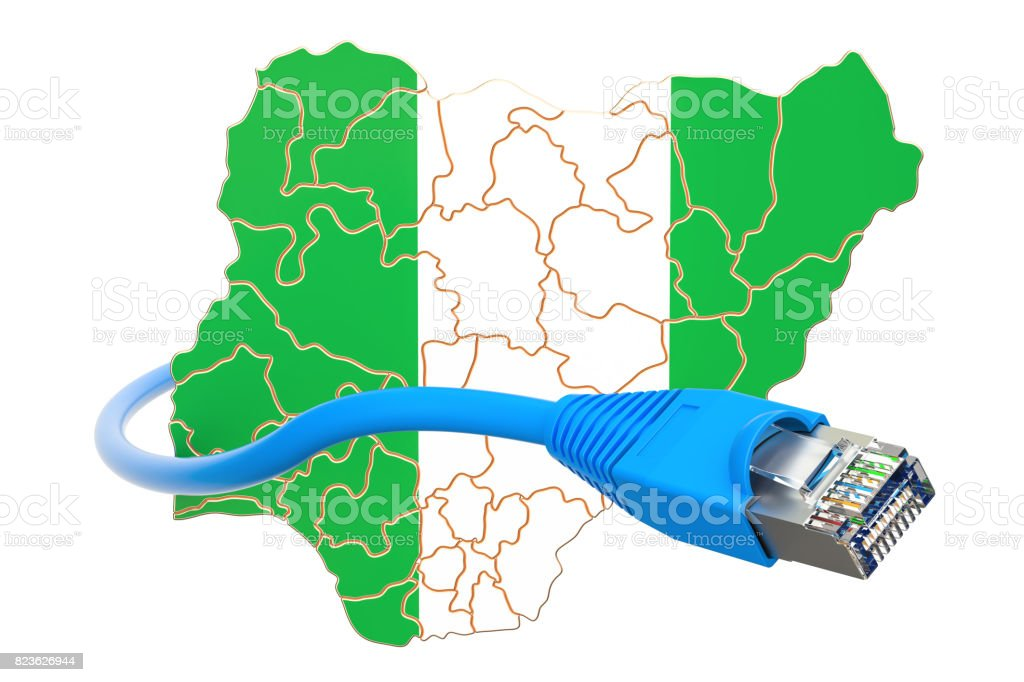 Internet connection in Nigeria concept. 3D rendering isolated on white background stock photo