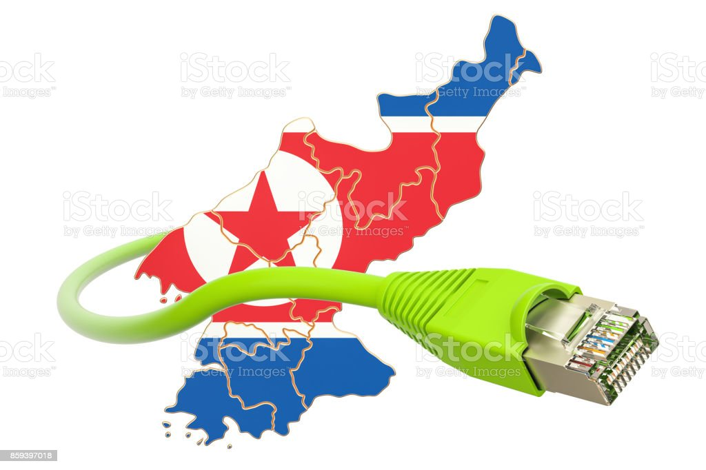 Internet connection in North Korea concept. 3D rendering isolated on white background stock photo