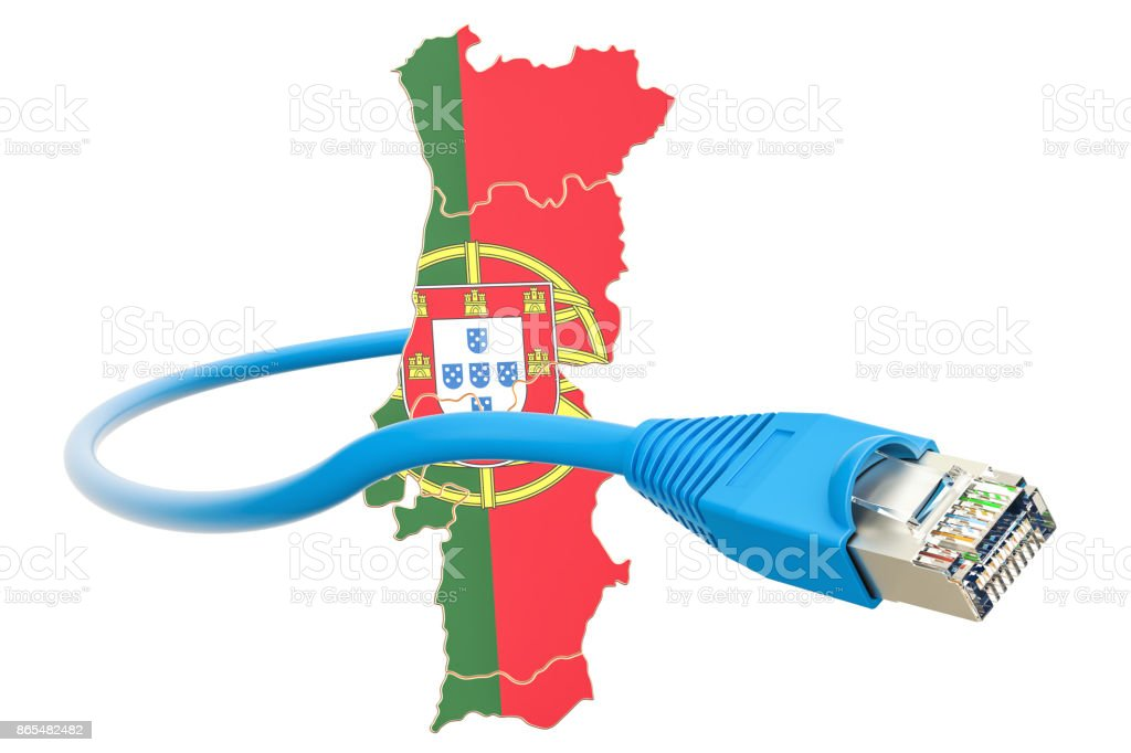 Internet connection in Portugal concept. 3D rendering isolated on white background stock photo