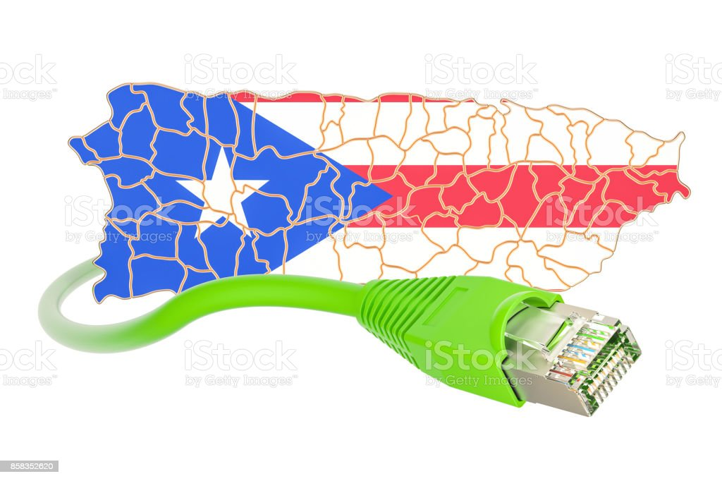 Internet connection in Puerto Rico concept. 3D rendering isolated on white background stock photo