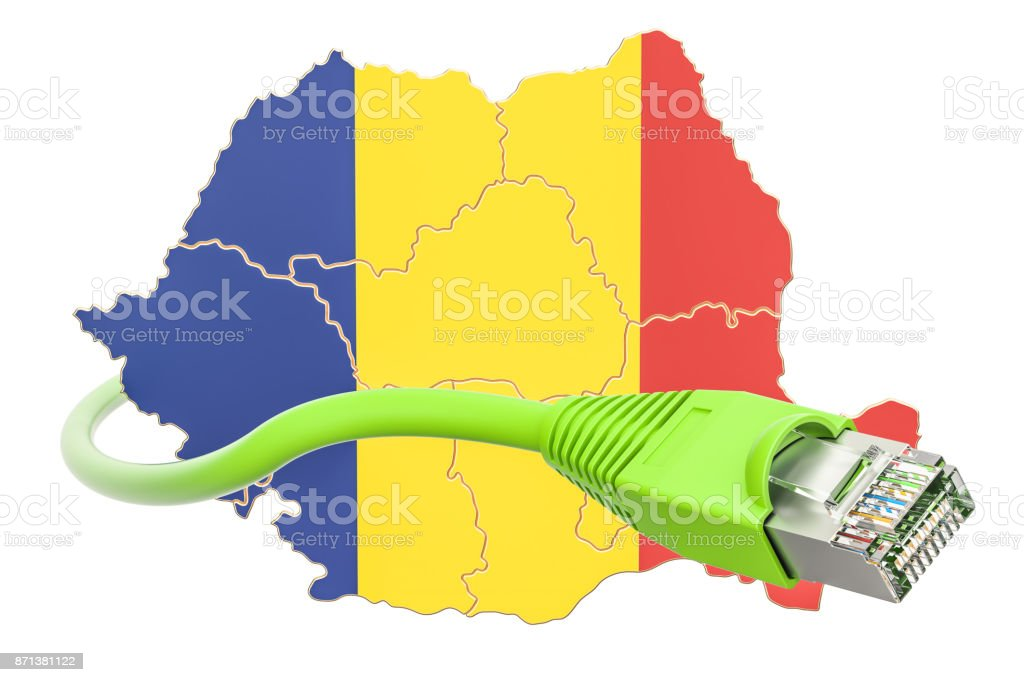 Internet connection in Romania concept. 3D rendering isolated on white background stock photo