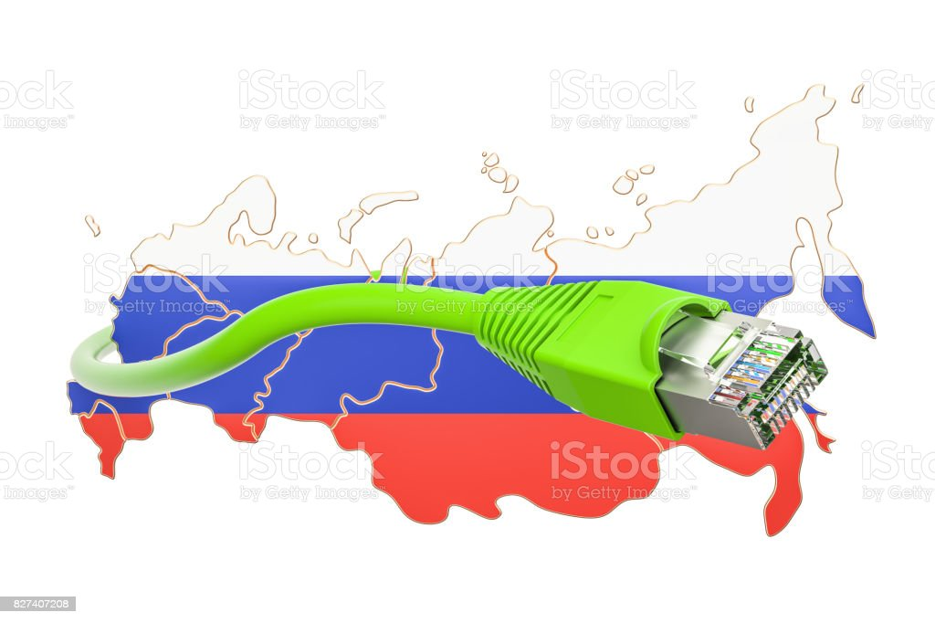 Internet connection in Russia concept. 3D rendering isolated on white background stock photo