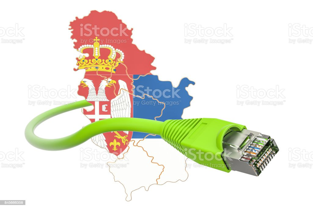 Internet connection in Serbia concept. 3D rendering isolated on white background stock photo