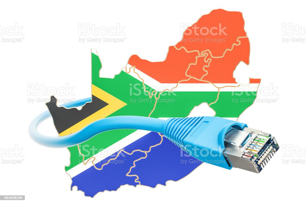 Internet connection in South Africa concept. 3D rendering isolated on white background stock photo