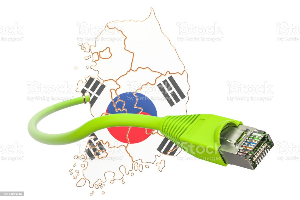 Internet connection in South Korea concept. 3D rendering stock photo