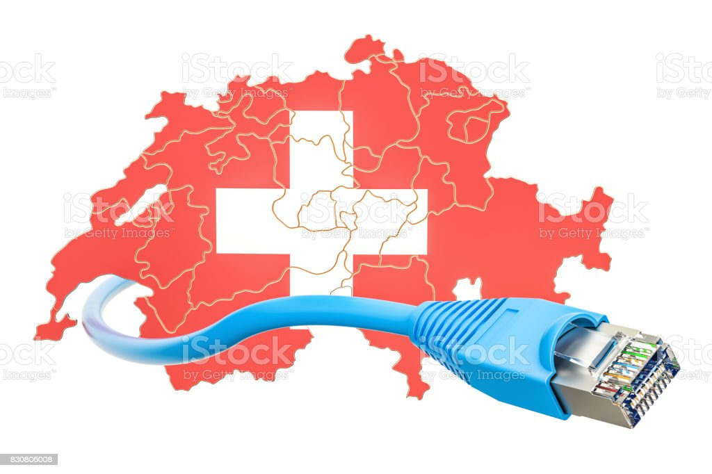 Internet connection in Switzerland concept. 3D rendering isolated on white background stock photo
