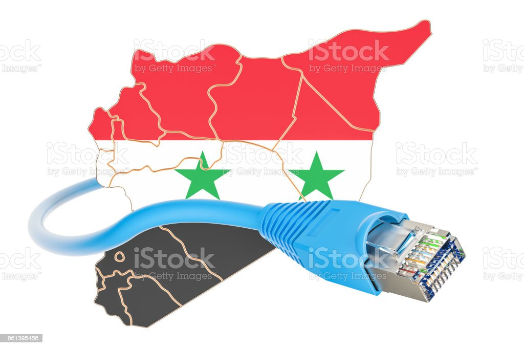 Internet connection in Syria concept. 3D rendering isolated on white background stock photo