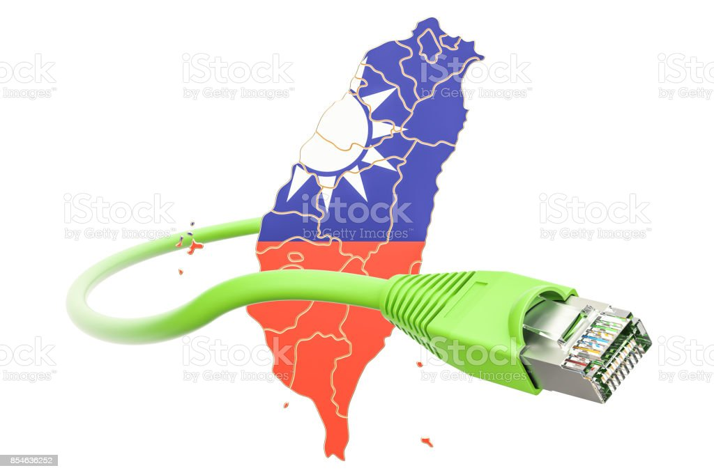 Internet connection in Taiwan concept. 3D rendering isolated on white background stock photo