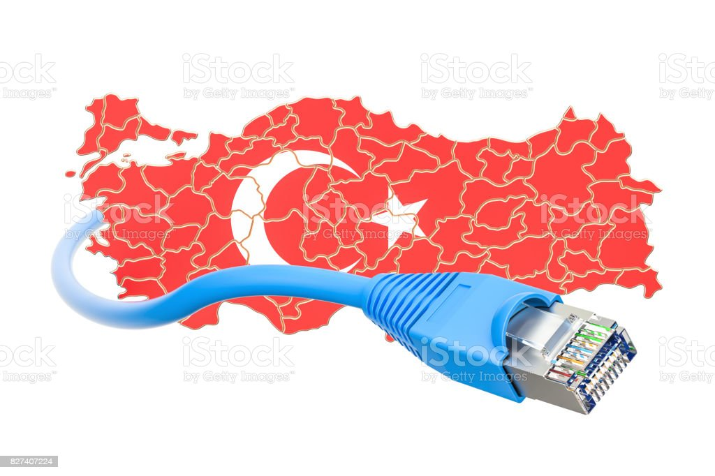 Internet connection in Turkey concept. 3D rendering isolated on white background stock photo