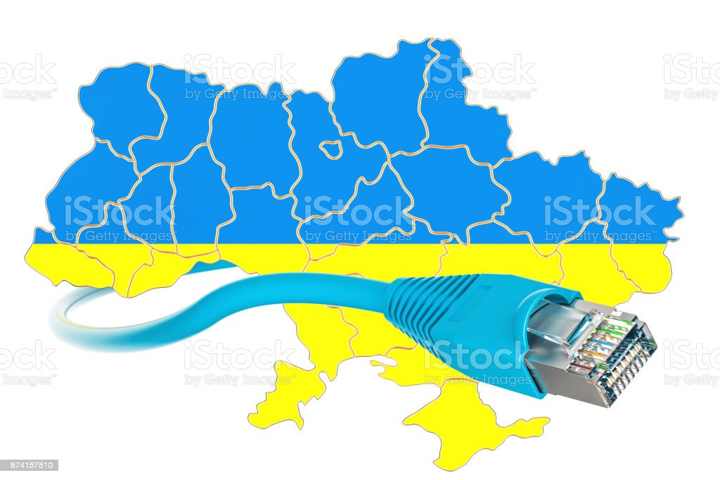 Internet connection in Ukraine concept. 3D rendering isolated on white background stock photo