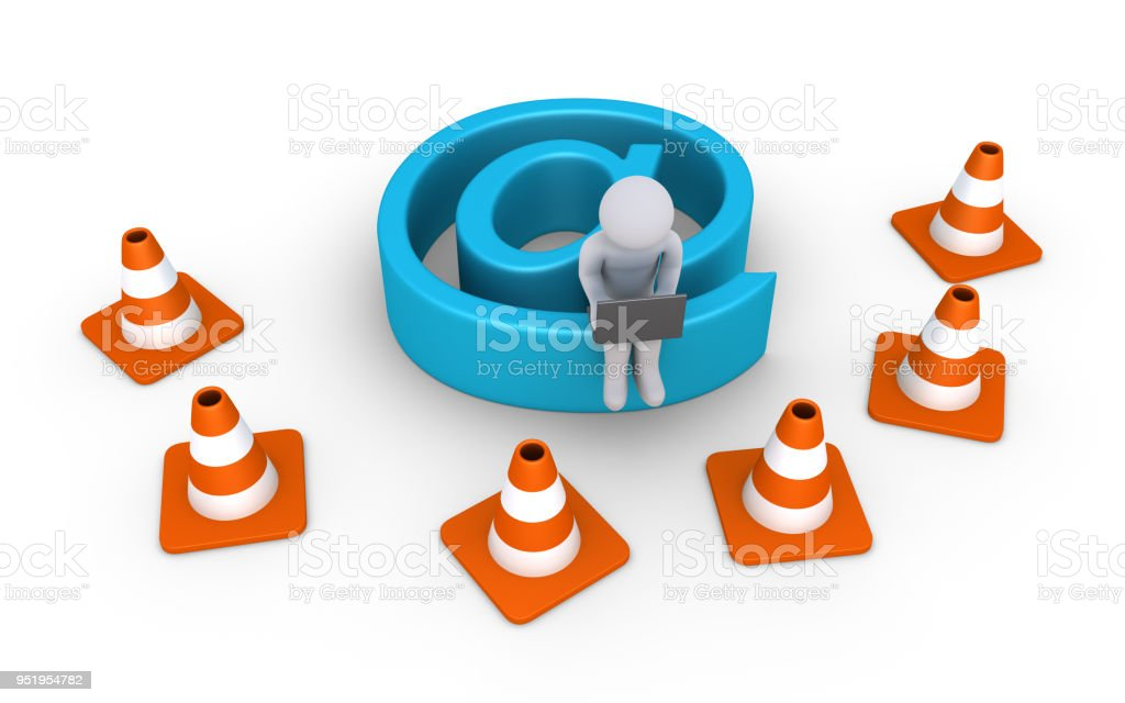 Internet connection is under maintenance by person stock photo