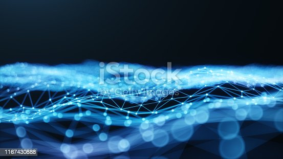 istock Internet connection technology concept. Cloud computing, neural communications of a supercomputer. Background from triangles connecting dots and lines. Cybersecurity concept, 3D Illustration 1167430888