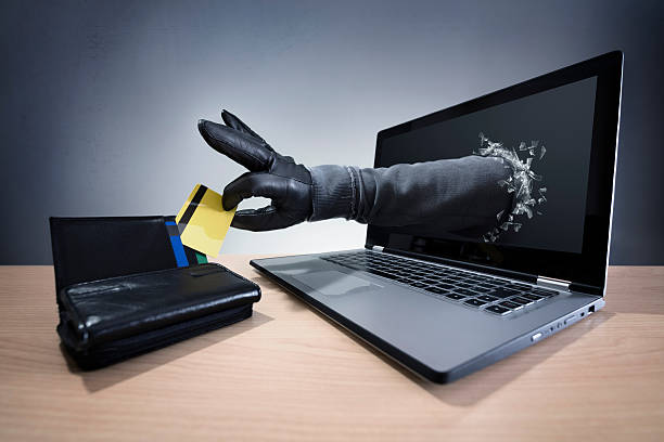 Internet crime and electronic banking security stock photo